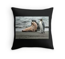 Seals and King Penguin Throw Pillow