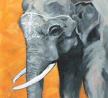 Painted elephant - orange poppy background.  by KoreanRussell