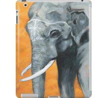 Painted elephant - orange poppy background.  iPad Case/Skin