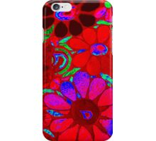 Psychedelic Red Flowers - Mosaic Art iPhone Case/Skin