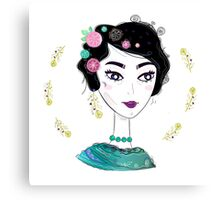"""Beautiful Art inspired by Frida isolated on white """"Emerald Collection"""" Canvas Print"""