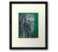 Painted elephant - Happy face Framed Print