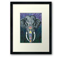 Painted elephant - Head Framed Print