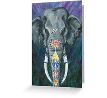 Painted elephant - Head Greeting Card