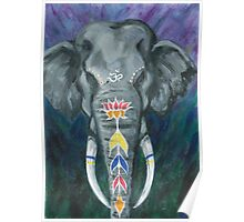 Painted elephant - Head Poster