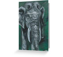 Painted elephant - white paint, on green Greeting Card