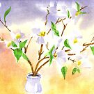 Dogwood in Watercolor by KipDeVore