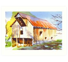 Missouri Barn in Watercolor Art Print