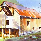 Missouri Barn in Watercolor by KipDeVore