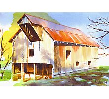 Missouri Barn in Watercolor Photographic Print