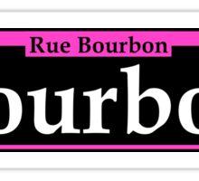 BOURBON STREET SIGN NEW ORLEANS LOUISIANA RUE BOURBON FRENCH CAJUN PINK WHITE Sticker