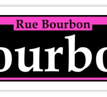 BOURBON STREET SIGN NEW ORLEANS LOUISIANA RUE BOURBON FRENCH CAJUN PINK WHITE Sticker