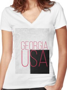 GEORGIA USA Women's Fitted V-Neck T-Shirt