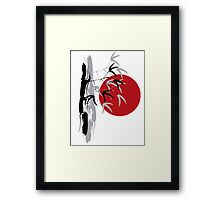 Oriental Red Sunrise Bamboo Zen Framed Print