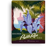 Discover Puerto Rico U.S.A. Vintage Travel Poster Canvas Print