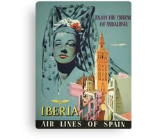 Iberia Air Lines Of Spain Vintage Travel Poster Canvas Print