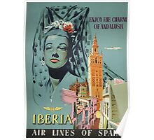 Iberia Air Lines Of Spain Vintage Travel Poster Poster