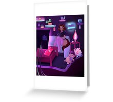 Cat girl playing video game Greeting Card
