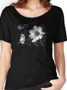 black and white flowers Women's Relaxed Fit T-Shirt