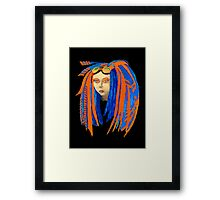Cybergoth Girl in Contrasting Blue and Orange Framed Print