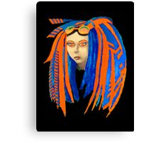 Cybergoth Girl in Contrasting Blue and Orange Canvas Print