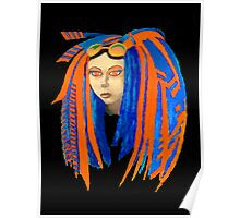 Cybergoth Girl in Contrasting Blue and Orange Poster