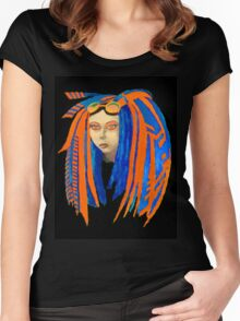 Cybergoth Girl in Contrasting Blue and Orange Women's Fitted Scoop T-Shirt