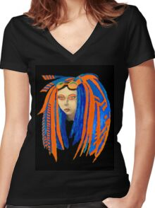 Cybergoth Girl in Contrasting Blue and Orange Women's Fitted V-Neck T-Shirt
