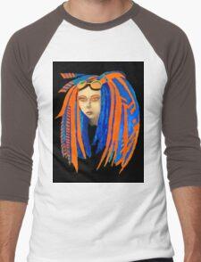 Cybergoth Girl in Contrasting Blue and Orange Men's Baseball ¾ T-Shirt