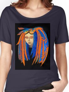Cybergoth Girl in Contrasting Blue and Orange Women's Relaxed Fit T-Shirt