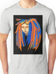 Cybergoth Girl in Contrasting Blue and Orange Unisex T-Shirt