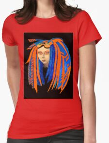 Cybergoth Girl in Contrasting Blue and Orange Womens Fitted T-Shirt