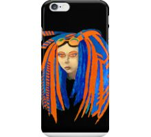 Cybergoth Girl in Contrasting Blue and Orange iPhone Case/Skin