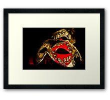 Red, Black & Gold Venetian Masks Framed Print