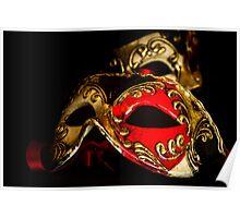 Red, Black & Gold Venetian Masks Poster