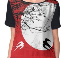 Oriental Swallows In Moonlight  Chiffon Top