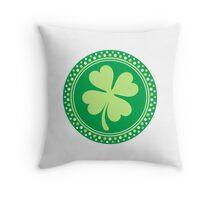 Round four leaf clover emblem St Patrick's day design Throw Pillow