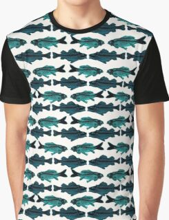 Fish (blue on white) Graphic T-Shirt