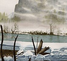 'Yosemite: Rivermist' - Watercolours. by Gee Massam