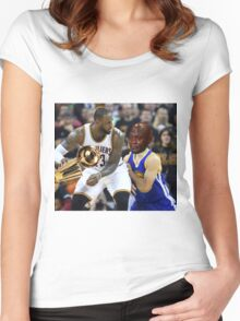 Lebron Robs Steph 2 Women's Fitted Scoop T-Shirt