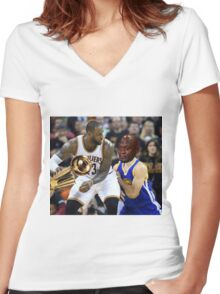 Lebron Robs Steph 2 Women's Fitted V-Neck T-Shirt