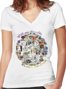 Create your world Women's Fitted V-Neck T-Shirt