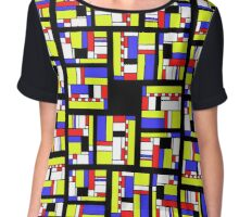 Yellow blue red white and black Chiffon Top