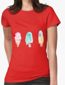 Watercolor Icecream Trio Womens Fitted T-Shirt