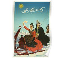 St. Moritz Switzerland Vintage Travel Poster Poster