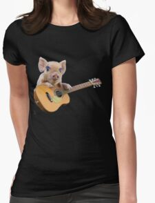 Piglet Playing Acoustic Guitar Womens Fitted T-Shirt