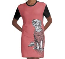 Red Dog Sweater - Original Drawing/ Illustration Graphic T-Shirt Dress