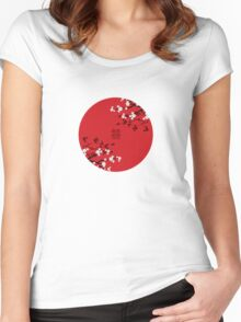 White Sakura Cherry Blossoms on Red and Chinese Wedding Double Happiness Women's Fitted Scoop T-Shirt