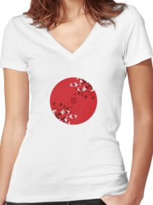 White Sakura Cherry Blossoms on Red and Chinese Wedding Double Happiness Women's Fitted V-Neck T-Shirt