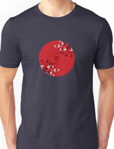 White Sakura Cherry Blossoms on Red and Chinese Wedding Double Happiness Unisex T-Shirt